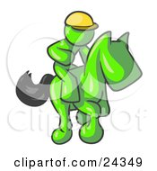 Clipart Illustration Of A Lime Green Man A Jockey Riding On A Race Horse And Racing In A Derby