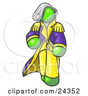 Clipart Illustration Of A Lime Green George Washington Character by Leo Blanchette