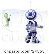 Clipart Illustration Of A Lime Green Man Inventor Operating An Blue Robot With A Remote Control