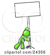 Clipart Illustration Of A Strong Lime Green Man Pushing A Blank Sign Upright by Leo Blanchette