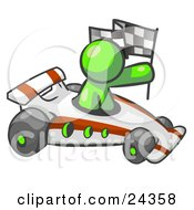 Clipart Illustration Of A Lime Green Man Driving A Fast Race Car Past Flags While Racing