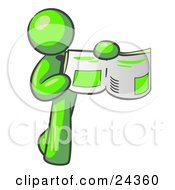 Clipart Illustration Of A Lime Green Man Holding Up A Newspaper And Pointing To An Article by Leo Blanchette