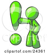 Clipart Illustration Of A Lime Green Businessman Standing By A Large Exclamation Point