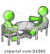 Clipart Illustration Of Two Lime Green Business Men Sitting Across From Eachother At A Table During A Meeting