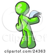 Clipart Illustration Of A Serious Lime Green Man Reading Papers And Documents by Leo Blanchette