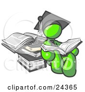 Clipart Illustration Of A Lime Green Male Student In A Graduation Cap Reading A Book And Leaning Against A Stack Of Books by Leo Blanchette
