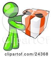 Clipart Illustration Of A Thoughtful Lime Green Man Holding A Christmas Birthday Valentines Day Or Anniversary Gift Wrapped In White Paper With Red Ribbon And A Bow by Leo Blanchette