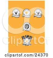 Collection Of 5 Wine Labels With Grapes And Banners Over An Orange Background