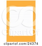 Blank Lined Sheet Of Paper Ripped Out Of A Notebook Over An Orange Background