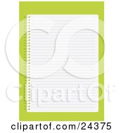 Blank Lined Sheet Of Paper In A Notebook Over A Green Background