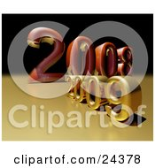 Clipart Illustration Of A Red 2008 Year Behind A Golden 2009 by Eugene #COLLC24378-0054