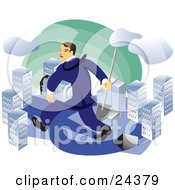 Clipart Illustration Of A Caucasian Real Estate Agent Or Businessman Carrying A Shovel And A Skyscraper And Walking Through A City by Eugene