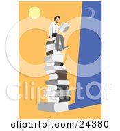 Clipart Illustration Of A Happy Businessman Seated On Top Of A Giant Stack Of Books Under The Moon And Sun Reading A Novel