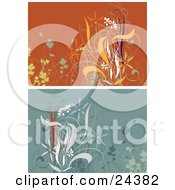 Clipart Illustration Of Floral Backgrounds One Orange One Blue With White Orange And Green Plants And Flowers by Eugene