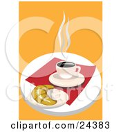Cup Of Hot Coffee On A Saucer By A Croissant On A Red Napkin