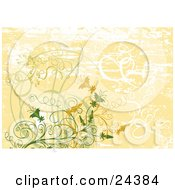 Clipart Illustration Of White Green And Orange Vines Plants And Flowers Over A Faded Grunge Orange And White Background by Eugene #COLLC24384-0054