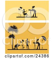Clipart Illustration Of Two Scenes Of A Female Model Posing Under Lights For Photographers One Scene In A Studio The Other On A Tropical Beach Over Orange