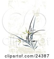 Clipart Illustration Of A Grunge Floral Background With Beautiful Iris Flowers And Stems Over White And Beige by Eugene