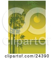 Clipart Illustration Of Silhouetted Green Bamboo Growing Along The Side Of A Coastal Landscape With Stars And The Full Moon