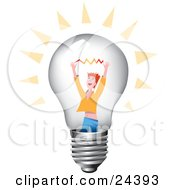 Clipart Illustration Of A Red Haired Man Holding Up His Arms With A Spark Inside A Clear Glass Lightbulb