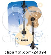 Clipart Illustration Of Two Acoustic Guitars Facing Different Directions Over A Blue Background With Bursts Vines And Scrolls