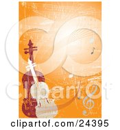 Violin And Viola Or Cello Standing Upright On An Orange Grunge Background With Sheet Music And Notes