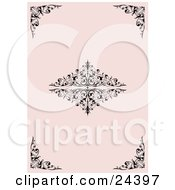 Pale Pink Background With Elegant Black Corner And Center Scrolls And Flourishes