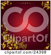 Clipart Illustration Of Golden Scrolls Leaves And Dots Over A Red Background With A Bright Center