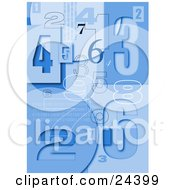Blue Background Of Numbers And Binary Coding With Squares And Circles