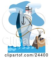 Clipart Illustration Of A Sailor Releasing The Rope Of A Cruiseliner Ship At The Docks Ready For A Trip