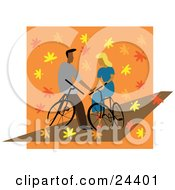 Clipart Illustration Of A Young Couple In Love Resting On Their Bikes And Gazing At Eachother As Autumn Leaves Surround Them by Eugene