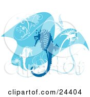Blue And White Seahorses With Scrolls And Bursts Swimming In Blue Water Over White