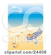 Straw Hat Resting On A Lounge Chair On A Tropical Beach With White Sands A Glass Of Water Starfish And Sea Shells