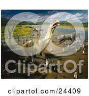 Clipart Photo Of Plateosaurus And Ticinosuchus Dinosaurs Battling It Out In A Stream With Tree Stumps