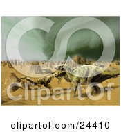 Iguanodon And Coelophysis Dinosaurs Running Through A Sandy Desert With A Storm Brewing In The Distance