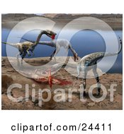 Herd Of Coelophysis Dinosaurs Dining On A Bloody Kill On The Shore Of A Lake