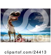 Clipart Photo Of A Bloody Tyrannosaurus Rex Towering Above Fresh Kill Near A Waterhole by Eugene #COLLC24413-0054