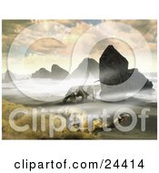 Clipart Photo Of Arhizaurus And Ticinosuchus Dinosaurs Roaming A Rocky Coastal Beach With Grasses On A Cloudy Day