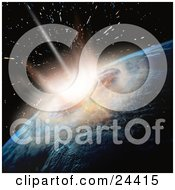 Clipart Illustration Of A Meteor Crashing Into Earth Showing The Moment Of Impact And Explosion
