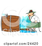 Clipart Illustration Of A Oktoberfest Man Using A Power Washer To Clean The Inside Of A Wooden Beer Keg