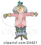 Clipart Illustration Of A Depressed Scarecrow On A Post With A Bluebird Nesting In His Hat by Dennis Cox