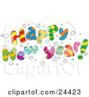 Clipart Illustration Of A Colorful Happy New Year Greeting With Snow
