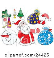 Clipart Illustration Of A Christmas Collection Of Santa Toy Sacks Mittens A Santa Hat Christmas Tree Burning Candle And Snowman