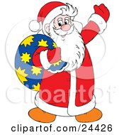 Clipart Illustration Of Santa Claus Being Jolly Waving And Carrying A Toy Sack Over His Shoulder