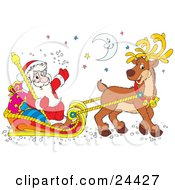 Clipart Illustration Of Santa Smiling And Waving Holding A Staff And Riding In A Sleigh With Sacks Being Pulled By A Reindeer Under The Moon And Stars
