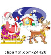 Clipart Illustration Of A Cute Brown Reindeer Pulling Santa On A Sleigh With A Large Toy Sack In Front Of A Home
