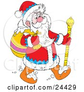 Clipart Illustration Of Santa In A Blue Red And White Suit Walking Through The Snow With A Golden Staff And Carrying A Toy Sack