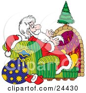 Saint Nicholas Sitting In A Chair In Front Of A Fireplace Warming His Hands While Delivering Presents