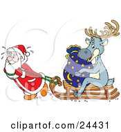Santa Sweating And Pulling A Reindeer And Toy Sack On A Wooden Sled