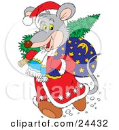 Clipart Illustration Of A Gray Mouse Dressed As Santa Carrying A Tree And Toy Sack Over His Shoulders